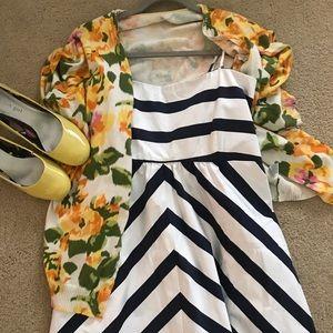 NWT Jessica Simpson navy chevron stripe maxi dress